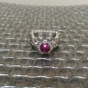 Silver ring with purple pearl